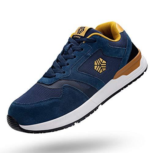 Zapatillas de Seguridad Hombre Mujere Transpirable Zapatos de Trabajo para SRC Antideslizante Calzado de Seguridad S1P Calzado de Protección Ligero con Punta de Acero (36-47EU)