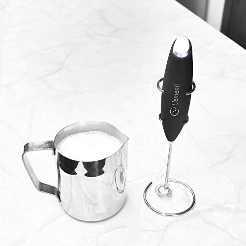 Elementi Milk Frother with Stainless Steel Whisk & Stand - Handheld Battery-Operated Drink Mixer, Coffee Frother, Milk Foamer, Cappuccino Maker, Great for Bulletproof Coffee, MCT Oil & Matcha Latte