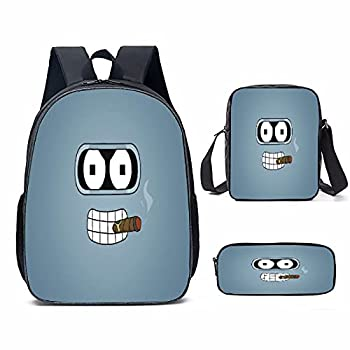 Futu-Rama Backpack 3 Pieces Set ,With shoulder Bag and Pencil Case For boys girls on school.
