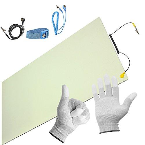 Minadax® ESD Antistatik-Matte 30cm x 55cm - inkl. Manschette + Verlängerung + Handschuhe - Professionelle Antistatische Arbeitsmatte - PVC-Matte mit Erdungskabel - Qualität - ESD-Schutz