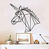 wZUN Pegatinas de Pared de Unicornio geométricas calcomanías de Pared de Cabeza de Caballo decoración del hogar habitación de los niños decoración del Dormitorio de la Sala de Estar 55X51cm