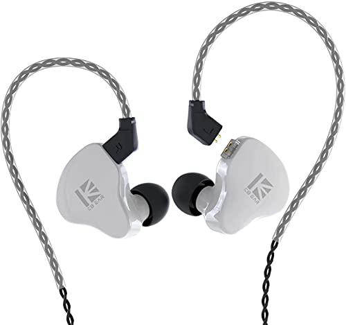 KBEAR KS1 in Ear Monitor, Auriculares Estéreo con Cable, Doble Circuito Magnectic Dinámico, HiFi Auriculares Cancelación de Ruido, Cable Desmontable(Blanco, sin Mic)