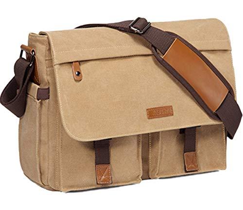 Messenger Bag for Men, Vaschy Water Resistant Waxed Canvas 14inch Laptop Bag for Women Shoulder Bag for Work, School