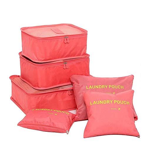 FunYoung Kleidertaschen-Set 6-teilige Reisetasche in Koffer Wäschebeutel Schuhbeutel Kosmetik Aufbewahrungstasche Farbwahl (Rosa)