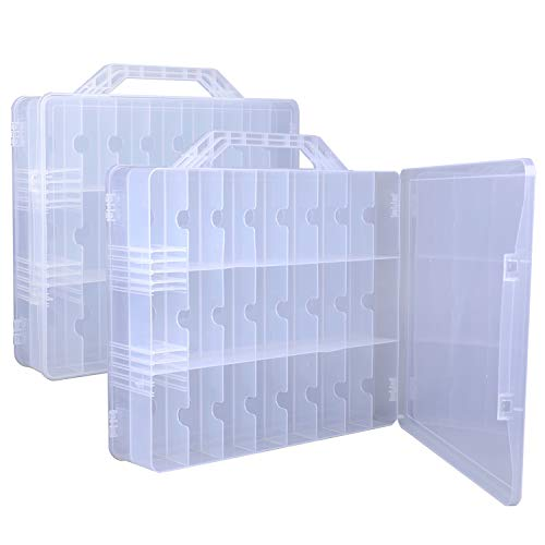 Foraineam 2 Pieces Double Side Universal Clear Nail Polish Organizer Box Nail Tools Holder Case for 48 Bottles with 8 Adjustable Dividers