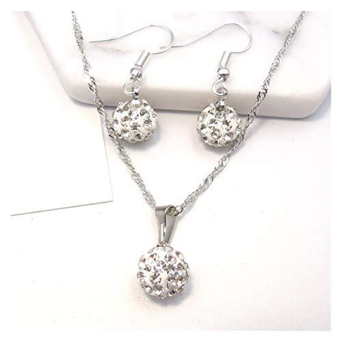 DSJTCH Bola de Taladro Completo Soft Ceramic Ornament Joyas de Cristal Juego de Orejas Collar de Gancho (Color : A)