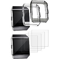 TecUnite Funda Protectora con Protector de Pantalla para Fitbit Ionic, Incluye 2 Piezas de Cubierta Resistente a Golpe y 4 Piezas de Película Protectora Resistente a Rascar