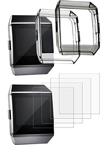 Schutzhülle mit Displayschutz für Fitbit Ionic, Inklusive 2 Stoßfesten Abdeckungen und 4 kratzfesten Displayschutzfolien