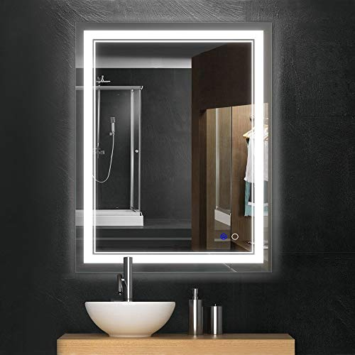 "Keonjinn 36""x 28"" Bathroom Mirror Horizontal/Vertical Anti-Fog Wall Mounted Makeup Mirror with LED Light Over Vanity"