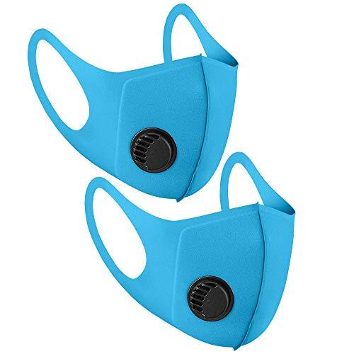 Mundschutz aus Stoff, wiederverwendbar, mit Luftventil und Ohrschlaufen, atmungsaktiv, weich, waschbar, langlebig, für den täglichen öffentlichen Gebrauch, Blau