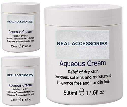 PACK OF 3 X 500ml AQUEOUS CREAM Emollient Large Tub | Relief of Dry Skin Soothes Softens and Moisturises == FRAGRANCE FREE & LANOLIN FREE CREAM Dry Skin Moisturiser Cream