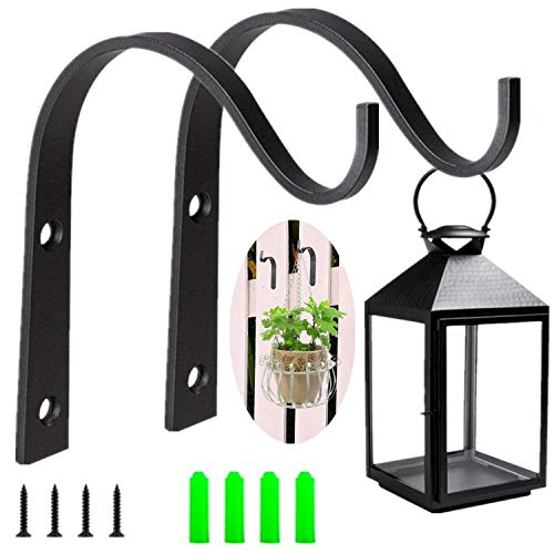 Lenxnmy 2 Pack Hanging Basket Brackets Wall Hanging Bracket Plant Hooks for Outdoor Indoor Garden,vase,bird feeder,plant,lantern,wind chime,flower,Wall Hanging Basket Stand (4 inch)