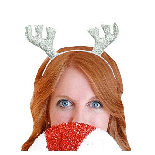 Dasongff Kerstmis haarband voor volwassenen, kinderen, party, cartoon hoofdband, kerstman, rendier, gewei, hoofddeksel, kerstmuts, hoed, kersthoofdband 1 pc zilver