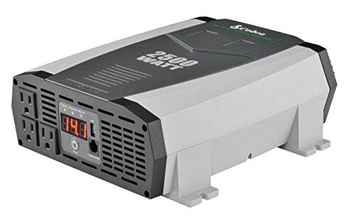 Cobra CPI2590 Portable Power Inverter – 2500 Watt Car Charger, 2 Grounded AC Outlets, 12 Volt 2.4 Amp USB Port