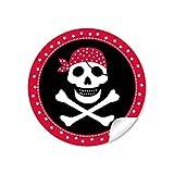 48 pegatinas: pegatinas de regalo pirata con calavera (arco A4), en rojo/negro, cumpleaños infantiles para un niño