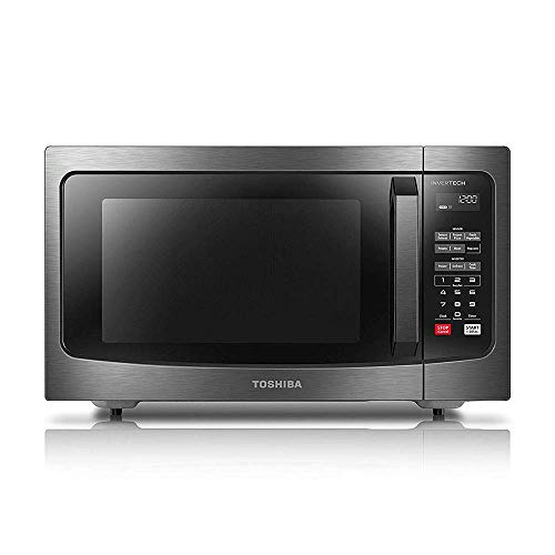 Toshiba EM245A5C-BS Microwave Oven with Inverter Technology, LCD Display and Smart Sensor, 1.6 Cu.ft/1250W, Black Stainless Steel (Renewed)