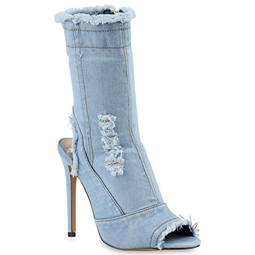 Damen Pumps Stiefeletten High Heels Schnürpumps Cut-Outs Schuhe 143526 Hellblau Denim 39 Flandell