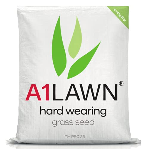 A1 Lawn AM Pro 25 Hard Wearing Grass Seed, 10kg (280m2) - UK Resilient, Fast Growing, Fresh, Pet & Child Friendly - Ideal for Patch Repair, Over Seeding, New Lawns & Thickening. DEFRA Approved