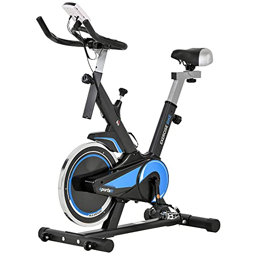 HOMCOM - Bicicletta da Biking Cardio con schermo LCD, multifunzione, sella e manubrio regolabili, volano inerzia 10 kg, in acciaio, colore: Nero e Blu