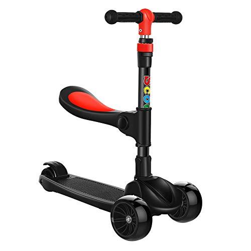 QIMA Kinderroller Kinderroller Faltbarer Dreiradroller Mit Blinkender Musik 2-3-4-6-12 Jahre Alter Baby-Roller