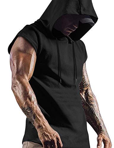 COOFANDY Men's Workout Gym Hoodies Muscle Training Short Sleeves Sweatshirts