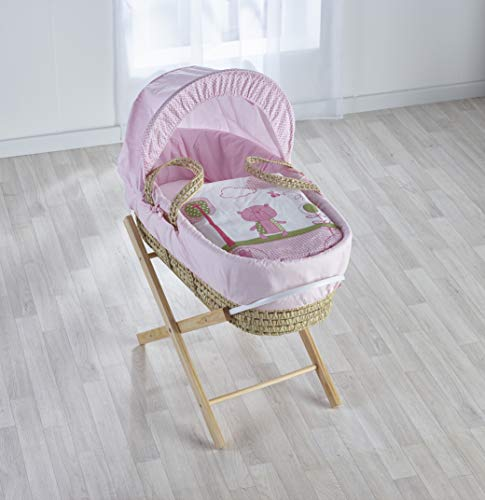 Kinder Valley Beary Nice Pink Moses Basket with Natural Folding Stand, Adjustable Hood, Fibre Mattress & Padded Liner