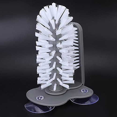 Cepillo de taza adecuado, 17.5 x 14 cm PP y nylon Hecho de succión de plástico para uso doméstico (gris)