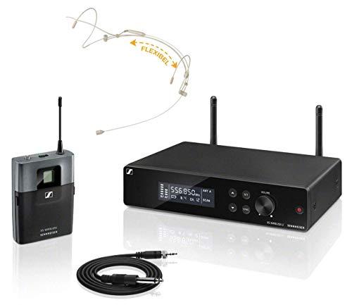 Sennheiser XSW 2-CI1 Instrumental complete set (all-in-one draadloos systeem met True-Diversity-ontvanger, externe antenne en afstelbare UHF-frequenties, in set incl. headset in beige met nekbeugel)