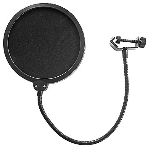 """AxcessAbles 6"""" Dual Layer Nylon Studio Microphone Pop Filter/Blocker with Adjustable Gooseneck and Clamp"""