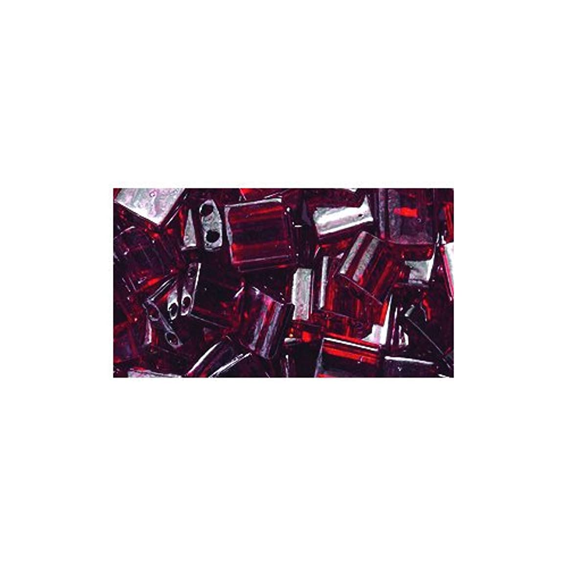 Miyuki Tila Square Two Hole Bead TL304, 5mm, Transparent Garnet Gold Luster, 10-Gram/Pack e35666512856