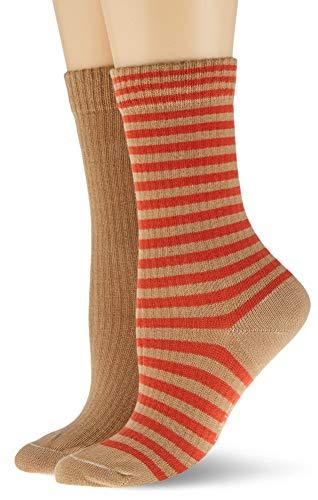 ESPRIT Damen Sporty Stripe 2-Pack Socken, braun (camel 5038), 35-38 (UK 2.5-5 Ι US 5-7.5) (2er Pack)