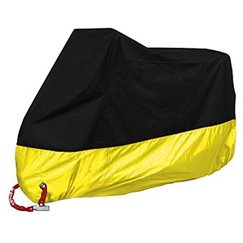 Funda para Moto Cubierta de la Motocicleta 210D Poliéster con Banda Reflectante a Prueba de UV Agua Lluvia Polvo Excremento de Pájaro al Aire Libre el Almacenamiento Invierno (Yellow,L)