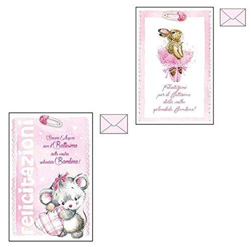 Takestop® Biglietto Auguri Battesimo Rosa Bambina Glitter Nascita CONGRATULAZIONI 11,7X17Cm Busta Rosa Fantasie Casuali