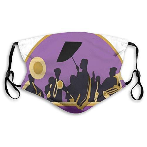 Face Scarf French Quarter Band Mit Jazz-Trompete Saxophon Und Messing School Print Wiederverwendbare Fahrrad-Gartenarbeit Mit Filter Bequem Unisex Weich Bunt Verstellbar Winddicht