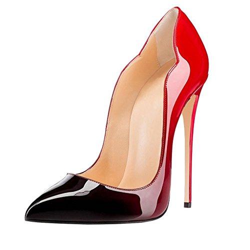 EDEFS Damen Pointed Toe Schuhe 12cm Stiletto Pumps High Heels Übergröße Shoes Gradient Größe EU40