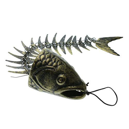 beootcr Fishbone Wind Chimes, Bronze Fish Bone Cast Iron Wind Chimes, Vintage Metal Wind Chimes Outdoor Soothing Melody for Garden Home Yard Porch Hanging Decor Mouth Close