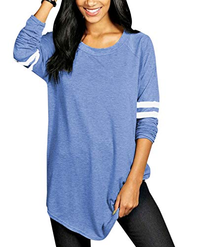VONDA Maglie Donna Maniche Righe Lunghe Elegante Girocollo Invernale Tops Sottile Casuale Tinta Unita Magliette Pullover Autunno T-Shirt Bluse Primavera Felpe D-Blu XXL