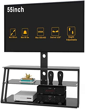 IANIYA Swivel Floor TV Stand with Mount Height Adjustable Bracket Entertainment Stand for 32 product image