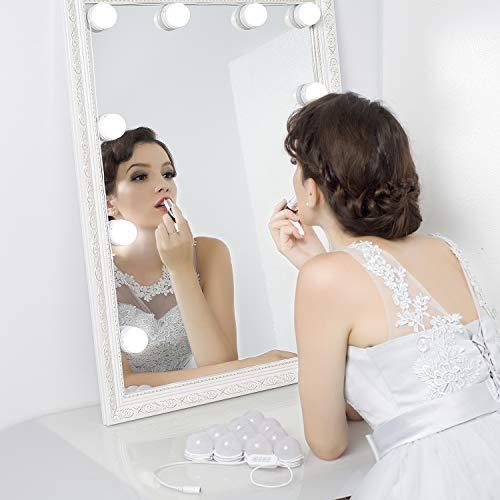LED Vanity Mirror Lights Kit – MRah Upgraded 2 Color Lighting Modes Makeup Mirror Lighting Fixture with 10 Dimmable Bulbs for Vanity Table Set, Bathroom Mirror