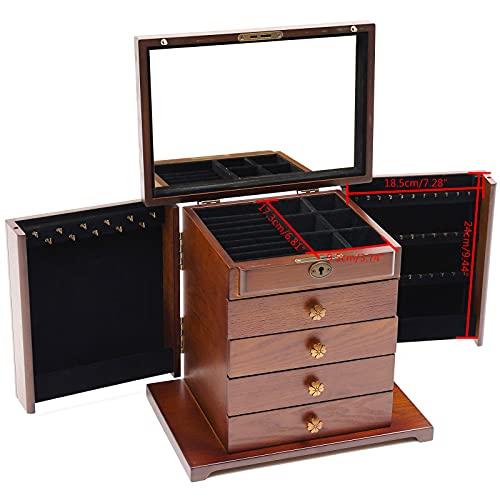 Joyero de madera de 5 capas con diseño de flores, caja de almacenamiento con espejo y cerradura para joyas, anillos, collares y relojes, color marrón