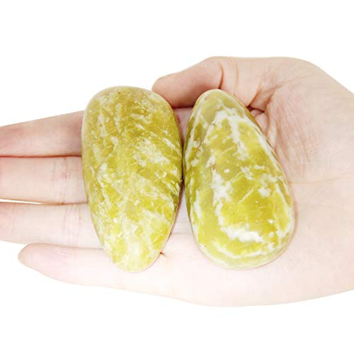 Orientrea Palm Stone-2 Pcs Yellow Apatite Pocket Energy Stone, Smooth Healing Crystal Worry Stone