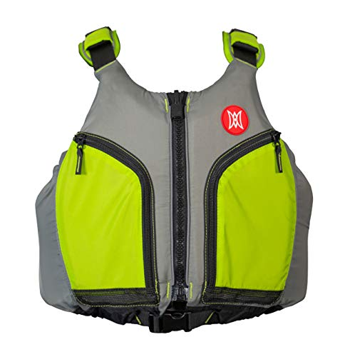Perception Kayaks Hi-Fi Kayaking Life Jacket | Easy Access Zippered Pockets | USCG Approved PFD - UL Type 3 | Paddle Sports Life Vest | XS - Small, Green/Grey
