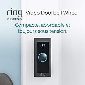 Découvrez Ring Video Doorbell Wired par Amazon, Vidéo HD, détection de mouvements avancée, installation raccordée | Avec essai gratuit de 90 jours à l'abonnement Ring Protect