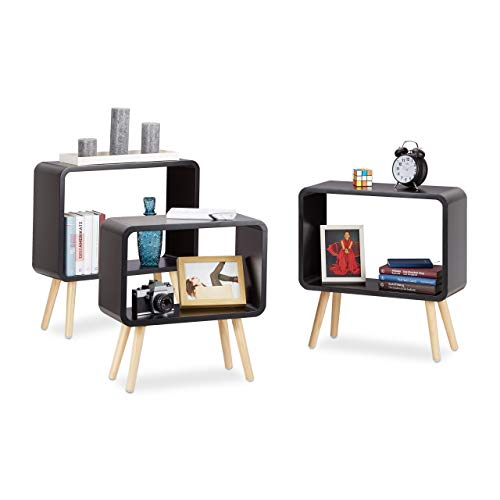 Relaxdays Standregale klein, Würfelregale im 3er Set, offene Beistelltische mit 4 Beinen, Cube Regale Holz, MDF, schwarz