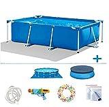 TYP Mall Infantil Deluxe Splash Frame Pool Piscina Desmontable Tubular Capacidad 3834L Buena Tenacidad Protector Solar Y A Prueba De Fugas para Patio Jardín Playa,Azul,260x160x65cm