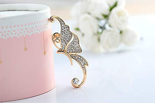 Deniferymakeup vrouwen elegante diamant vlinder oor crawler klimmer oorbellen creatieve vlinder vleugel vorm dateren bruiloft oor wrap Kleur: wit