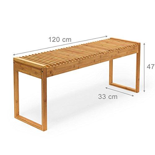 Relaxdays Sitzbank Bambus HxBxT: ca. 47 x 120 x 33 cm stabile und geräumige Gartenbank auch als Dielenbank mit Platz für 3-4 Personen aus Bambus für die Terrasse, den Balkon und die Wohnung, natur - 3
