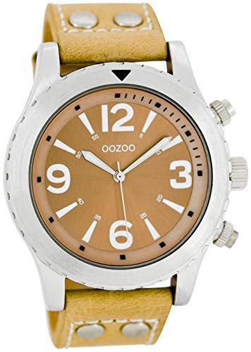 Oozoo Herrenuhr mit Nieten Lederband 45 MM Sand/Sand C6110