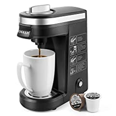 【SINGLE CUP COFFEE BREWER-12OZ】CHULUX personal coffee maker fits 1.0 and 2.0 pod coffee capsules to meet your multiple favour.You also can use ground coffee (refillable filter NOT included),then create your private cafe at rushing hours or relax time...