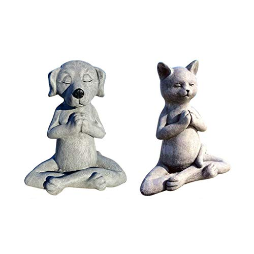 ADICOM Meditating Dog Statue, Zen Yoga Relaxed Pose for Home DecorationFigurine Garden Decor Gifts Yoga Lovers Dog+Cat